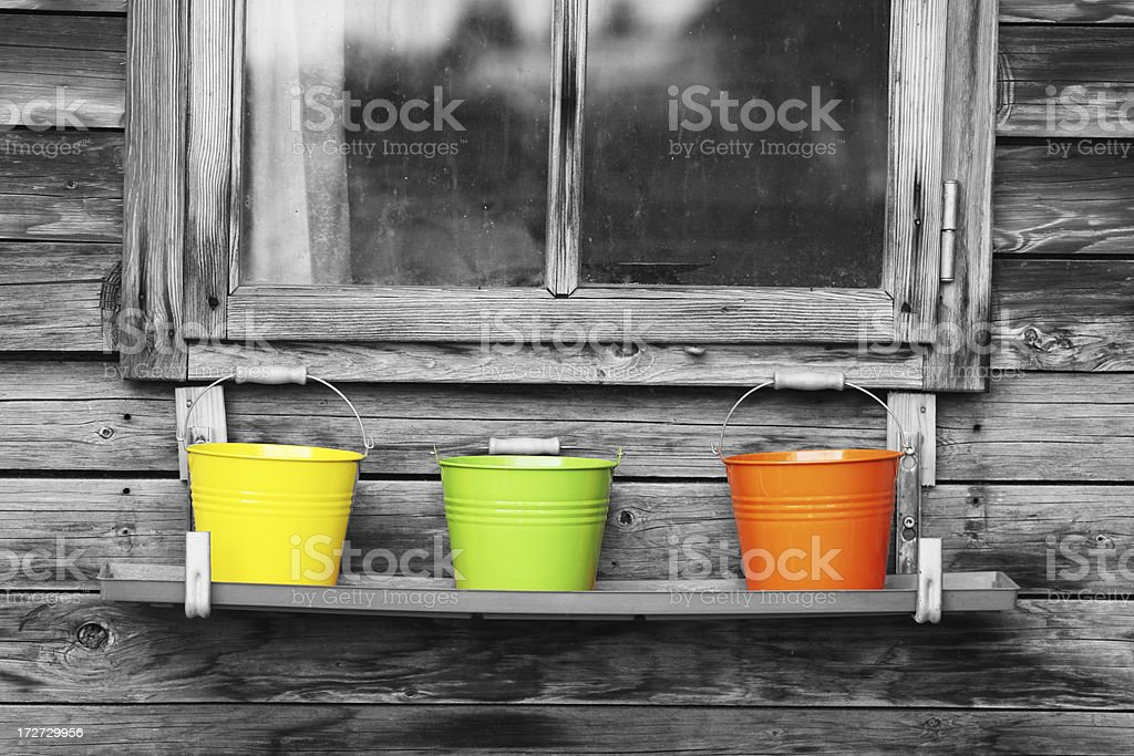Colorful buckets royalty-free stock photo