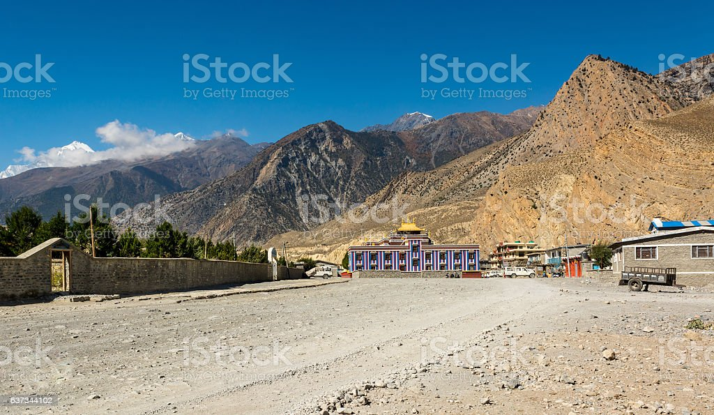 Colorful buddhist monastery. stock photo