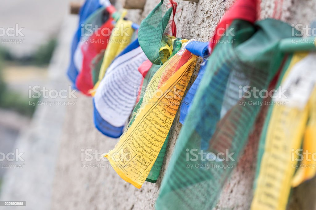 Colorful Buddhist prayer flags. Asia stock photo