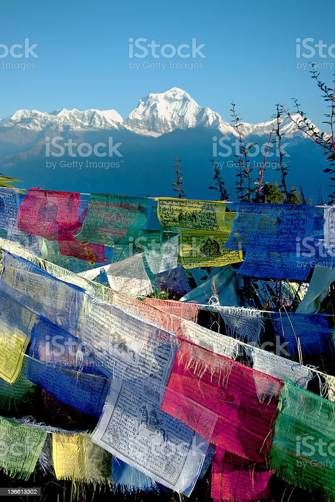 Colorful buddhist prayer flags flying blue sky stock photo