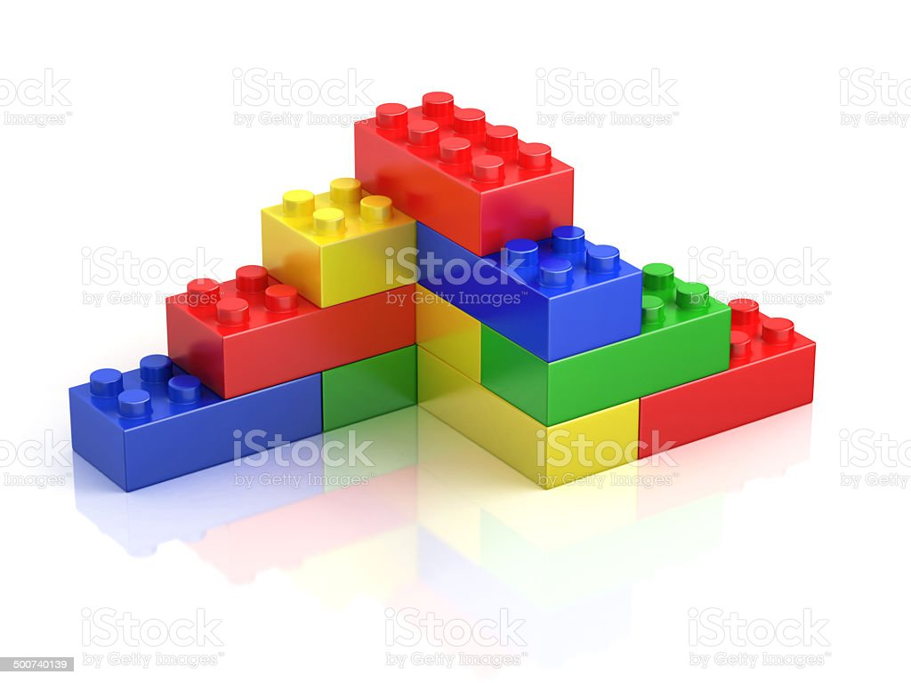 colorful building blocks isolated on white vector art illustration
