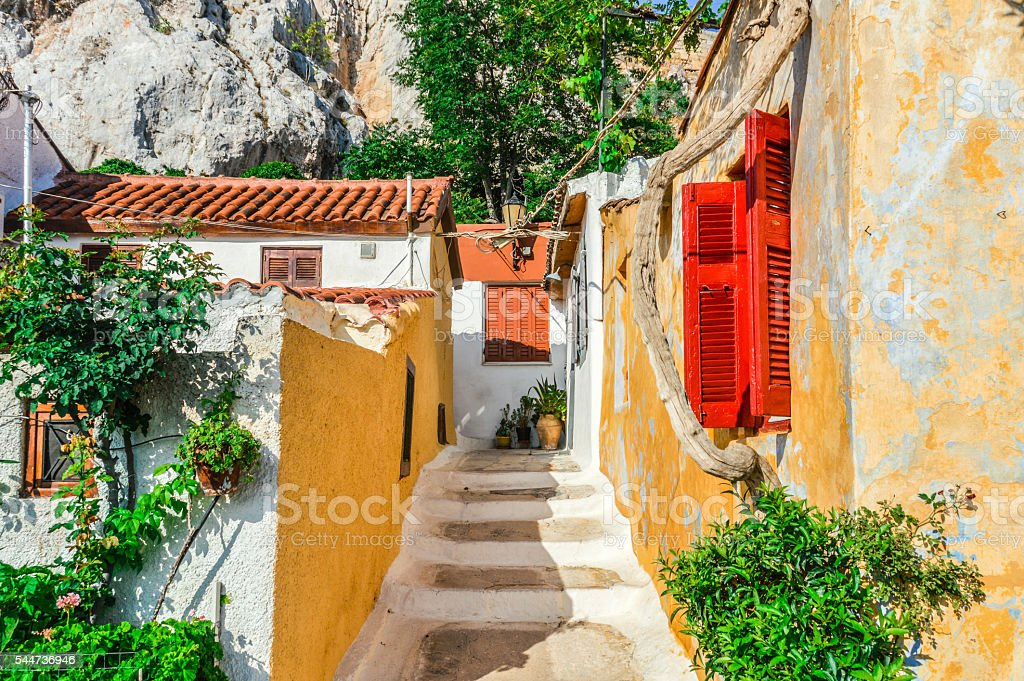 Colorful building in Plaka neighborhood of Athens, Greece stock photo
