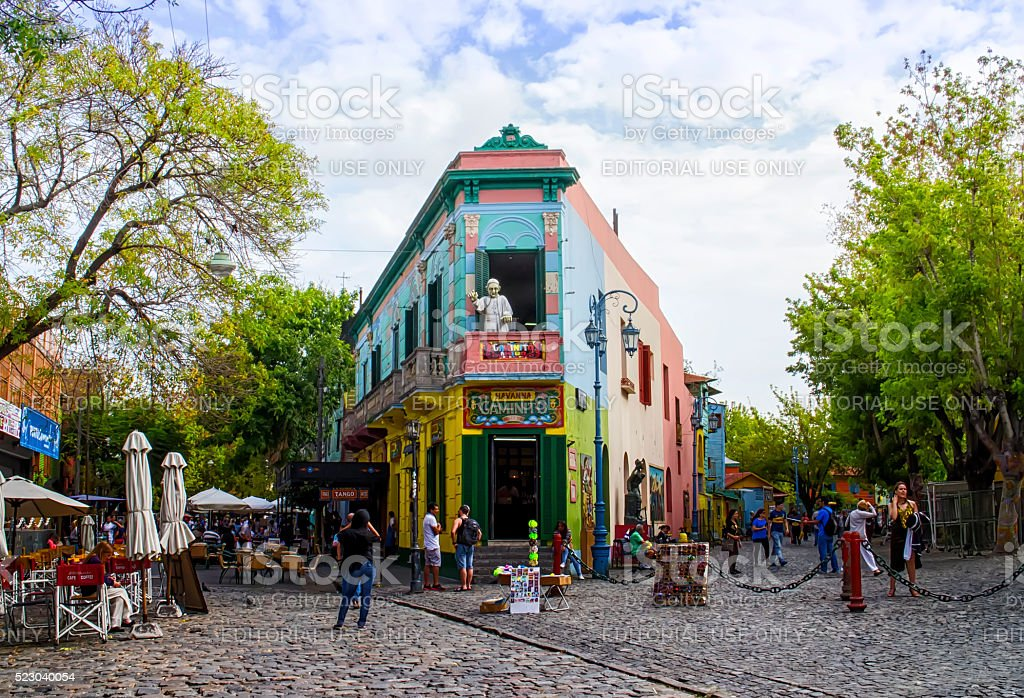 Colorful Building La Boca, Buenos Aires, Argentina stock photo
