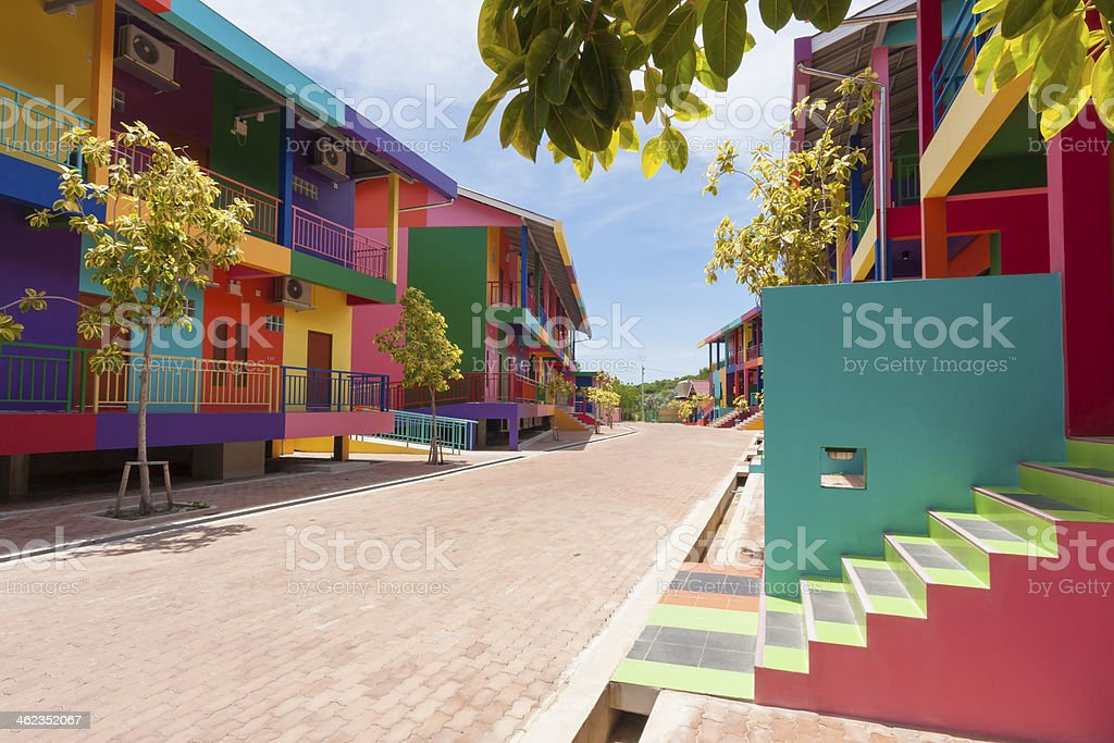 colorful building stock photo