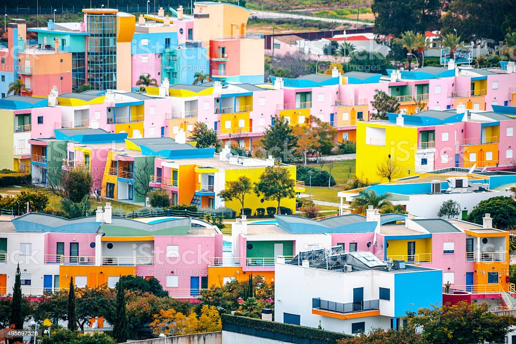 Colorful buildings. Albufeira, Algarve. stock photo