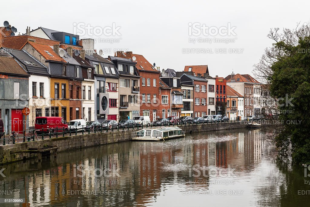 Colorful buildings along Nieuwbrugkaai and Portus Ganda in Ghent stock photo