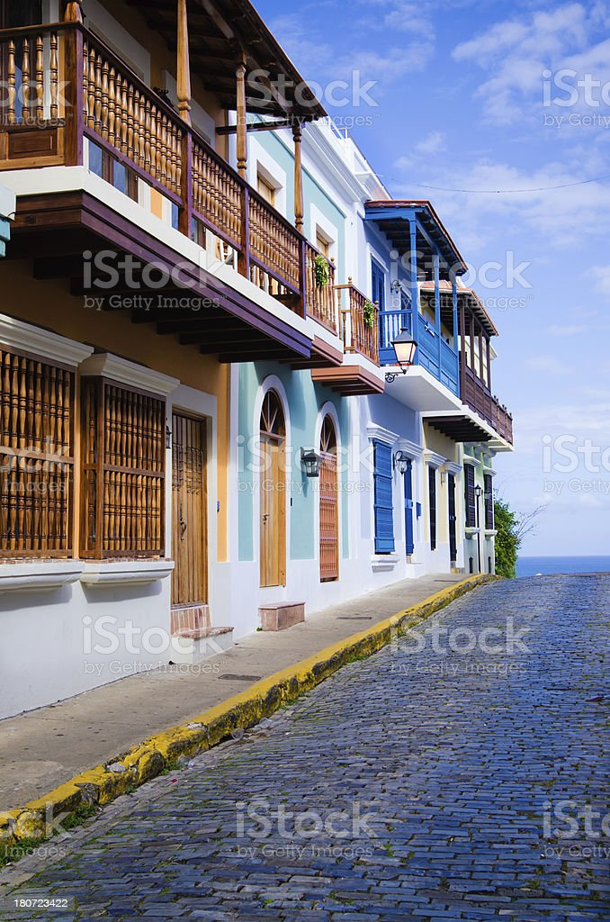 Colorful buildings along street in Old San Juan, Puerto Rico royalty-free stock photo