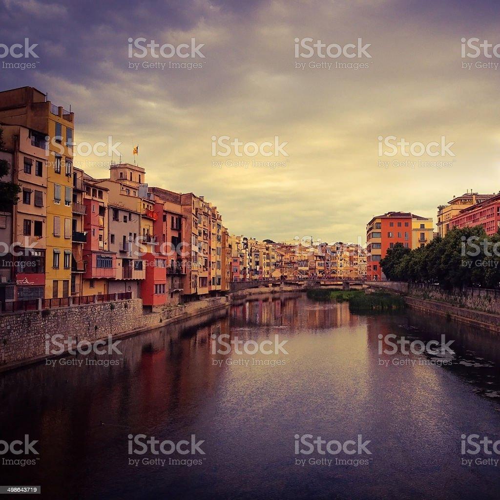 Colorful buildings facing river, Girona, Spain stock photo