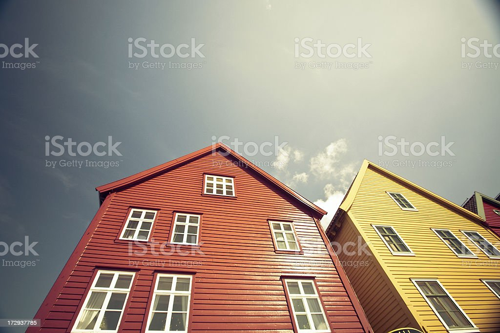 Colorful buildings in Bergen stock photo