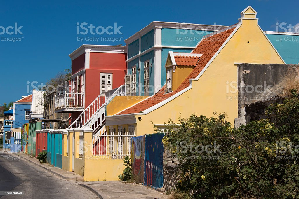 Colorful Buildings in Caribbean Street stock photo