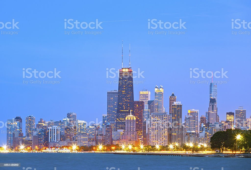 Colorful buildings in downtown Chicago during sunset stock photo