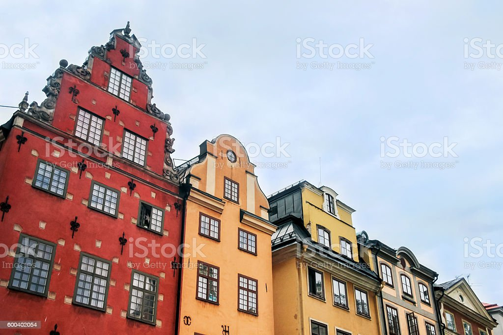colorful buildings in old town stockholm stock photo