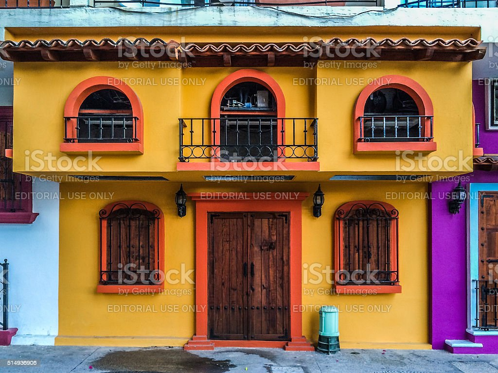 Colorful buildings in Puerto Vallarta, Mexico stock photo