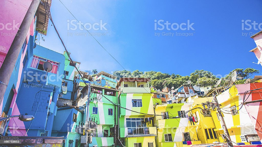 Colorful buildings in Santa Marta Faevela in Rio stock photo