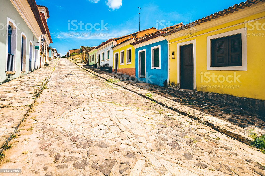 Colorful buildings in the row in Brazilian town. Alcantara, Maranhao. stock photo