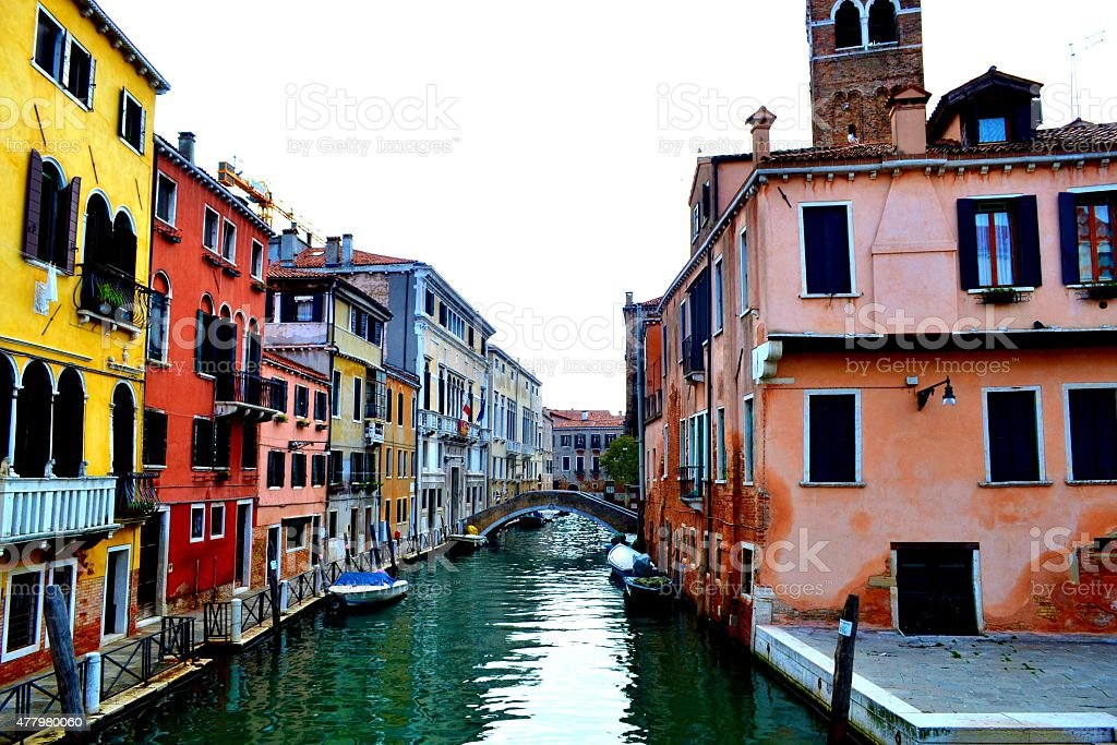Colorful buildings in Venice, Italy stock photo