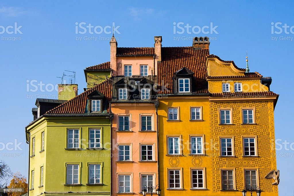 Colorful buildings in Warsaw stock photo