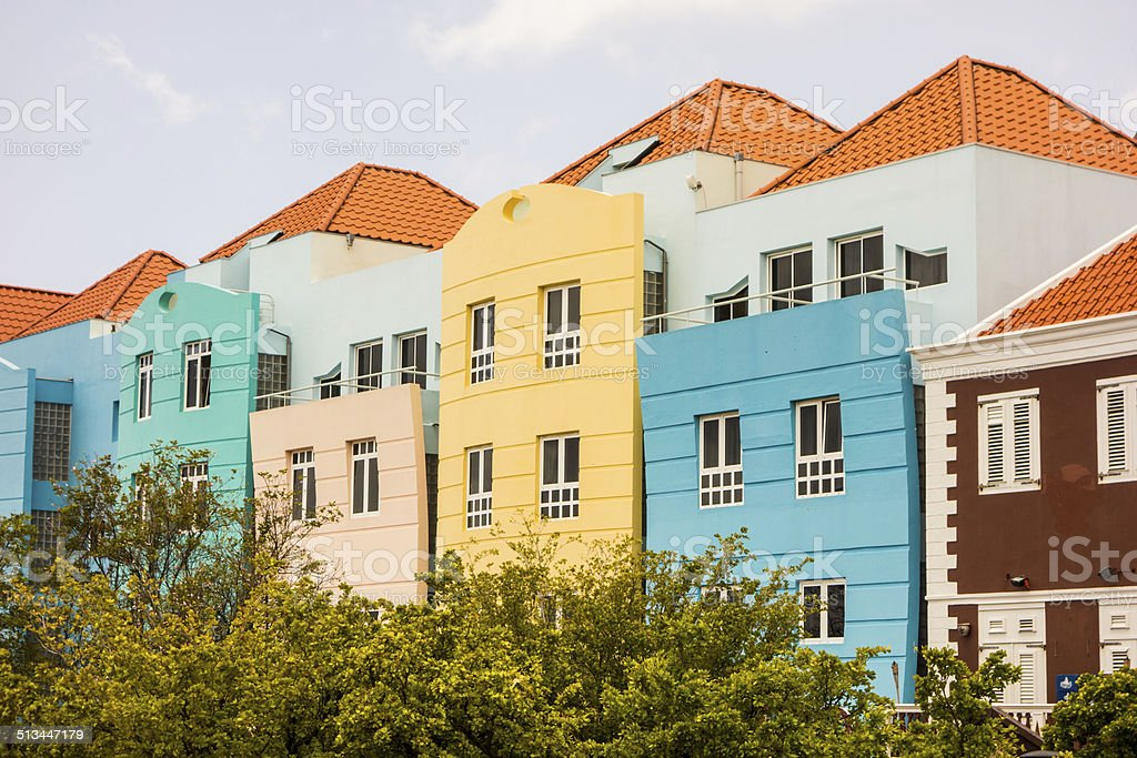 Colorful Buildings in Willemstad, Curacao stock photo