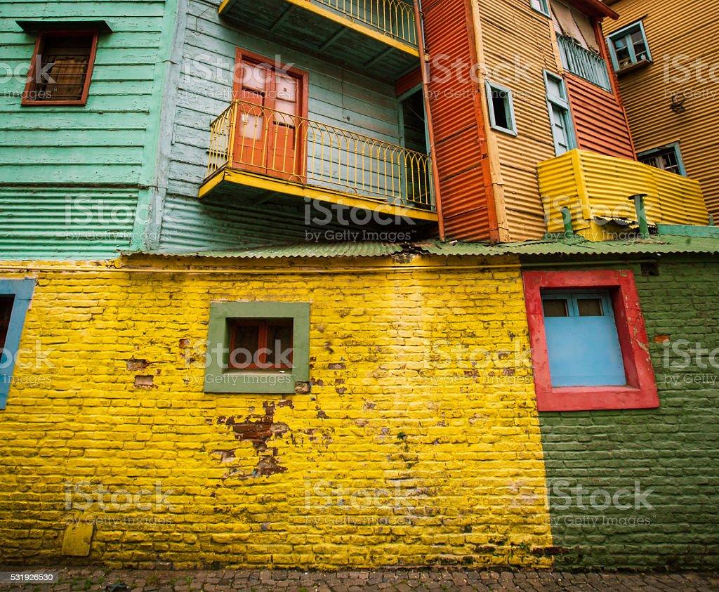 colorful buildings la boca stock photo