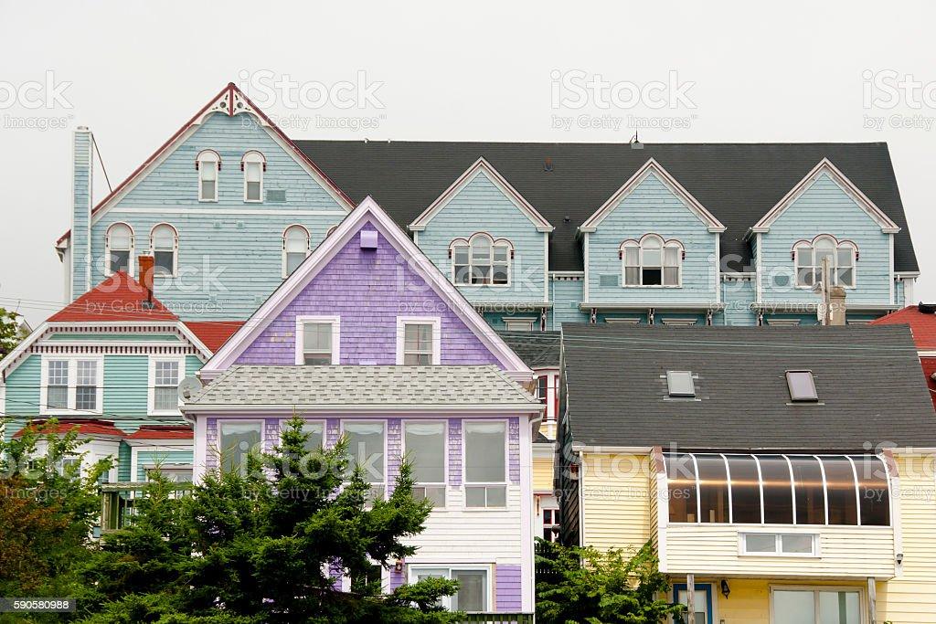 Colorful Buildings - Lunenburg - Nova Scotia stock photo