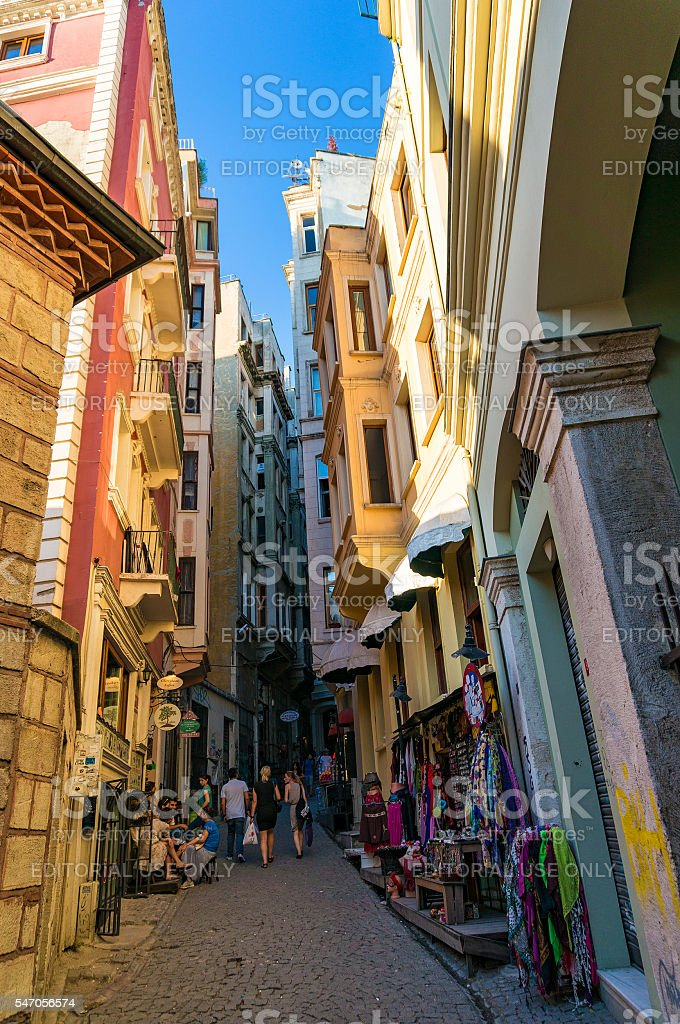 Colorful buildings on narrow streets of old Istanbul quarters stock photo