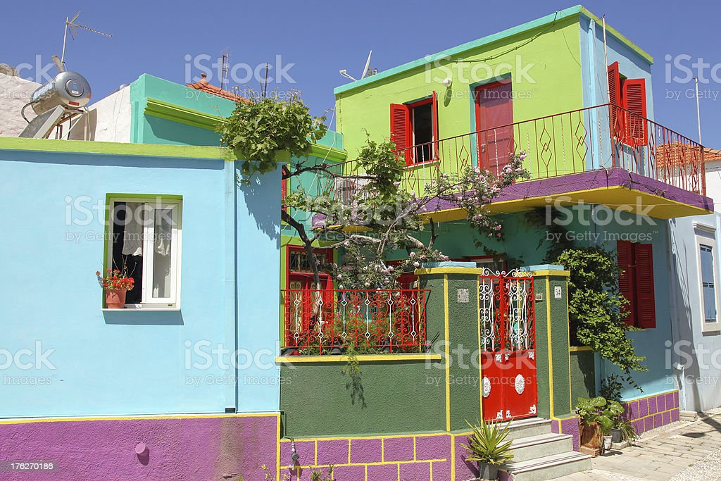 colorful buildings on the island of Rhodes stock photo