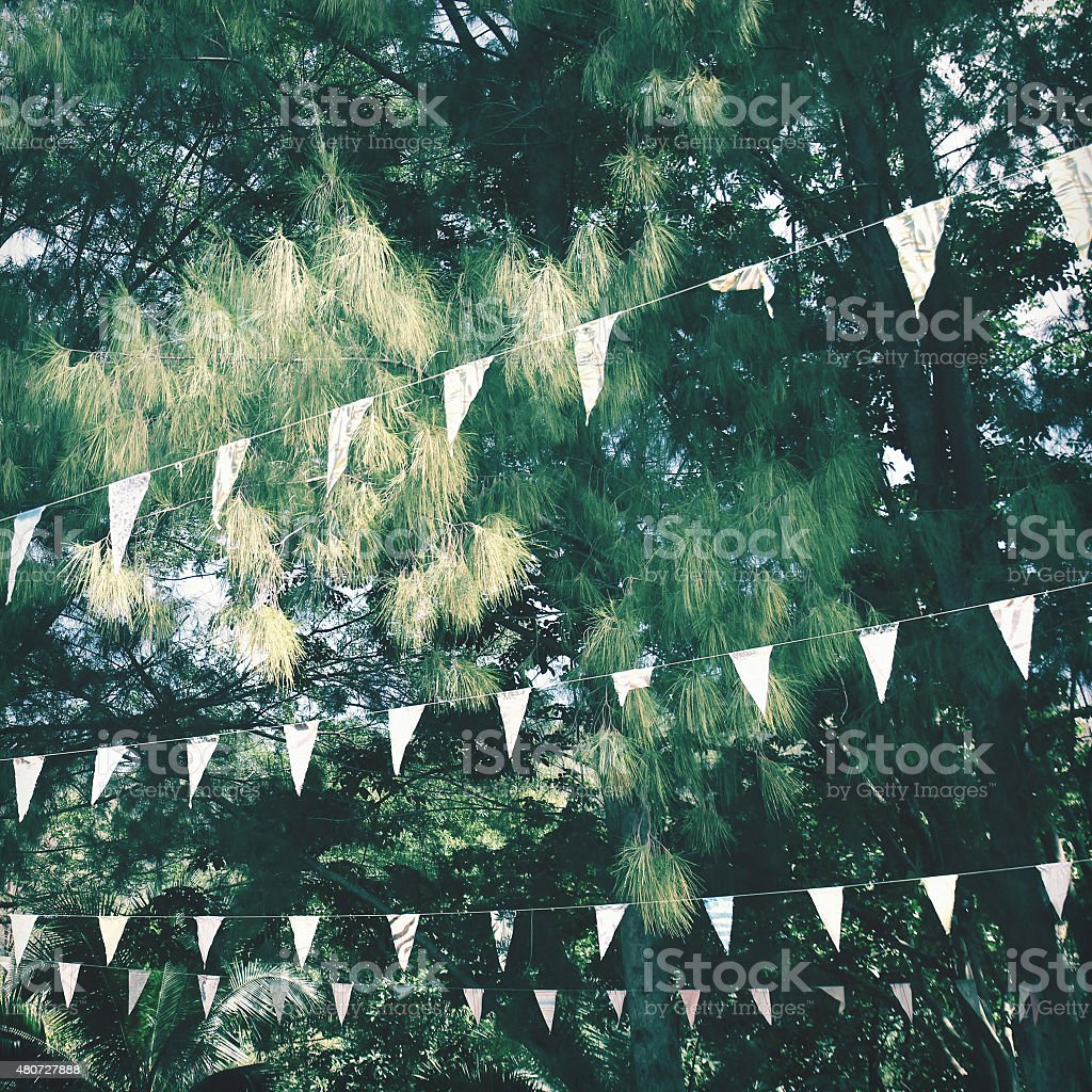 Colorful bunting flags hanging on tree with retro filter effect stock photo