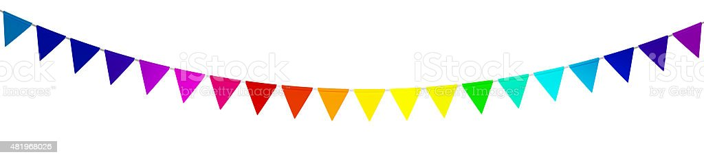 Colorful bunting isolated stock photo