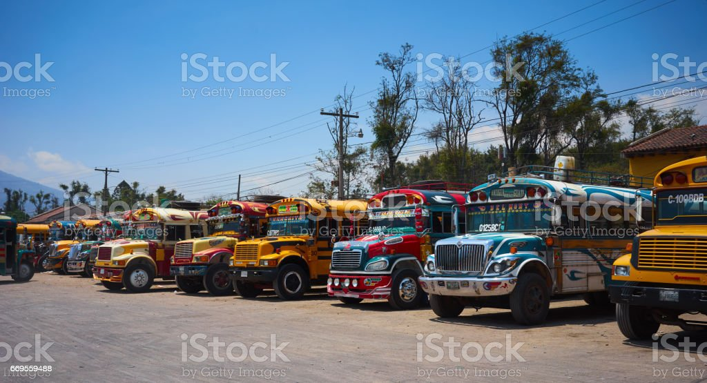 Colorful buses of Guatemala stock photo