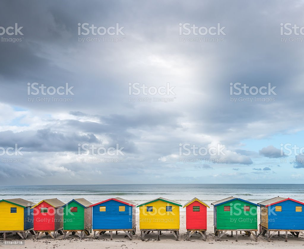 Colorful Cabins Muizenberg 1 stock photo