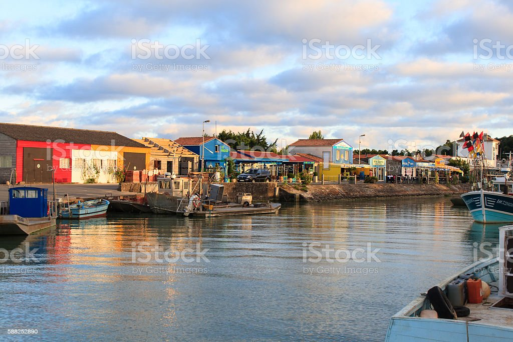 colorful cabins on the island oleron france stock photo