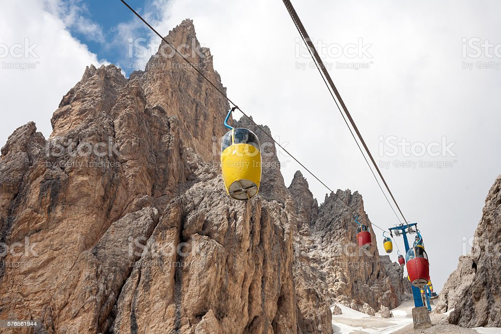 Colorful cable car in the Dolomites stock photo
