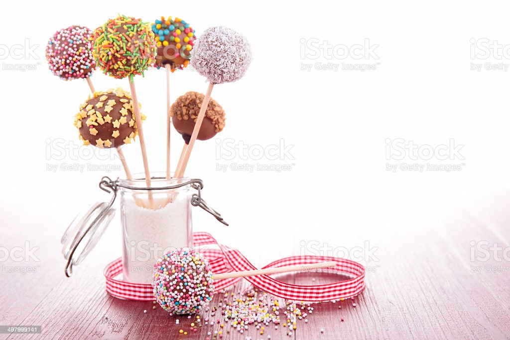 colorful cake pops stock photo