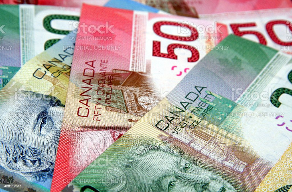 Colorful Canadian Currency stock photo