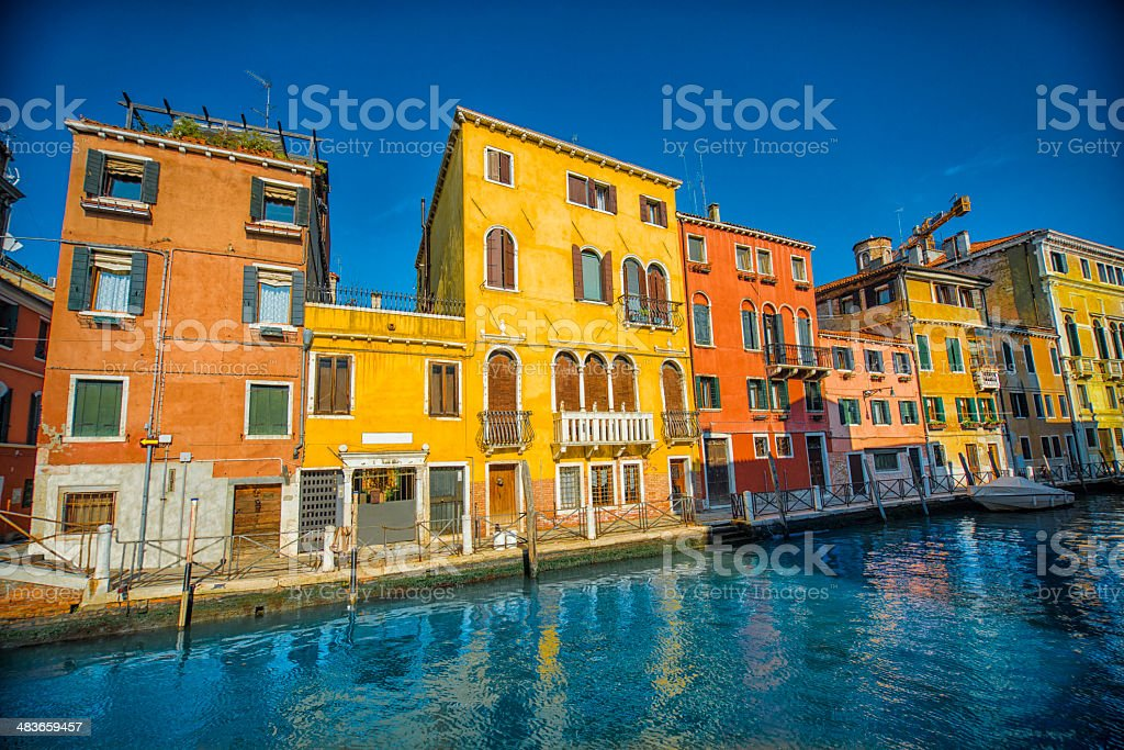 Colorful canal i Venice with Traditional Venetian Architecture royalty-free stock photo