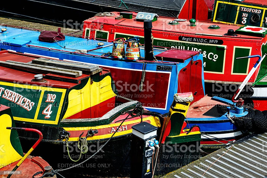 Colorful canal narrowboats in Birmingham, England stock photo