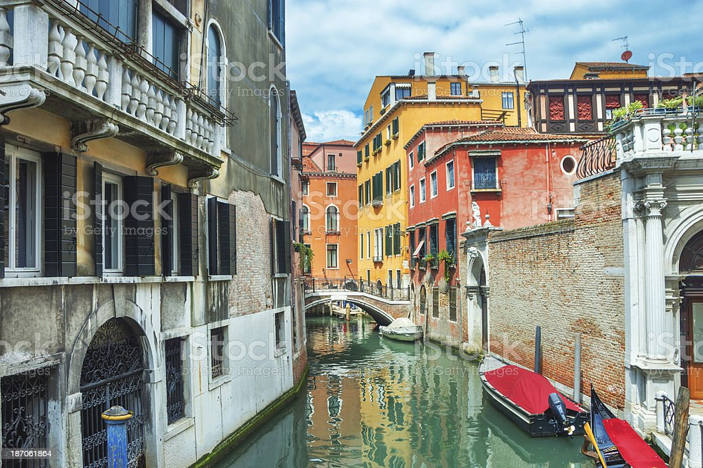 Colorful canal Venice royalty-free stock photo