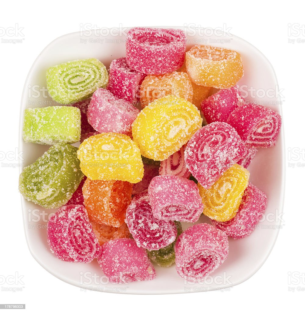 colorful candied fruit jelly on plate royalty-free stock photo