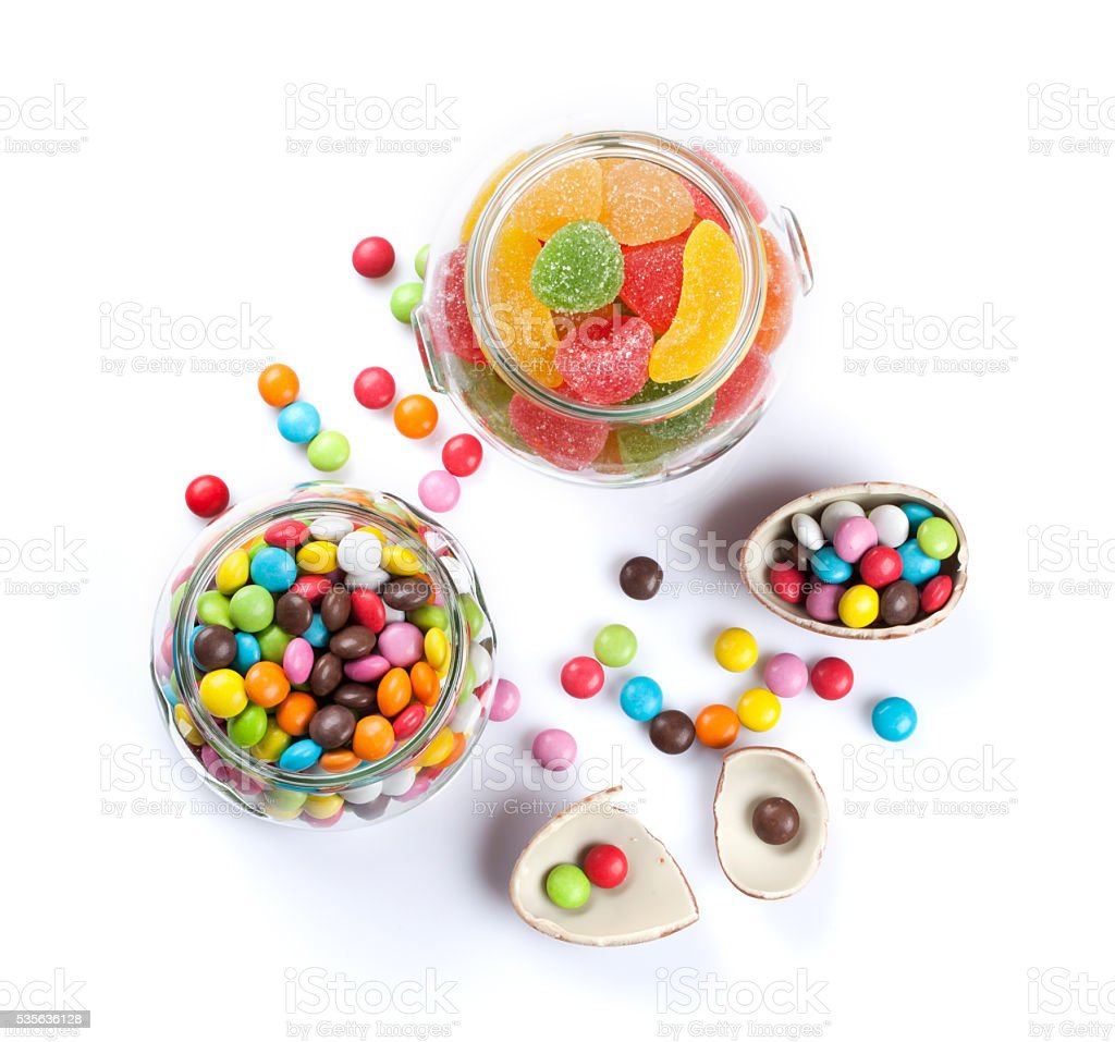 Colorful candies and marmalade stock photo
