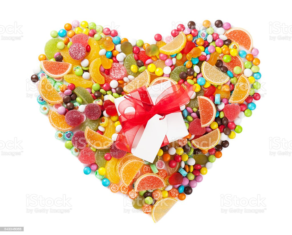 Colorful candies, jelly and marmalade heart stock photo