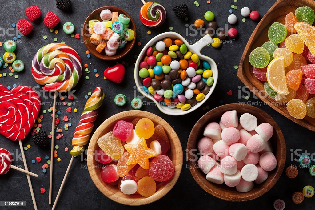 Colorful candies, jelly and marmalade stock photo