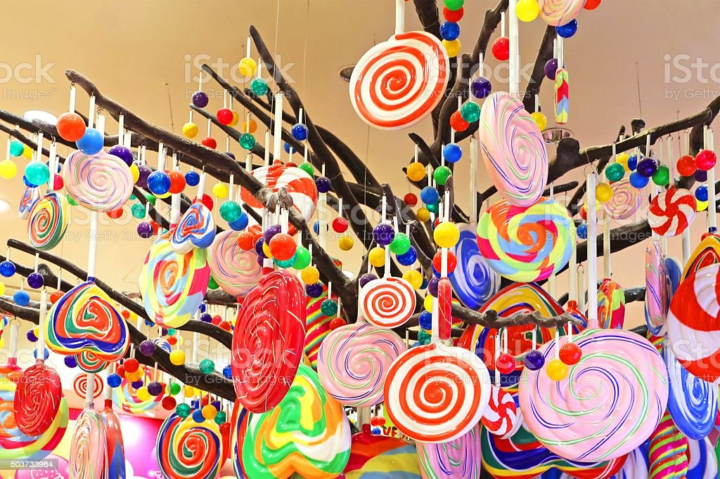 Colorful Candy and Lollipop Variety stock photo