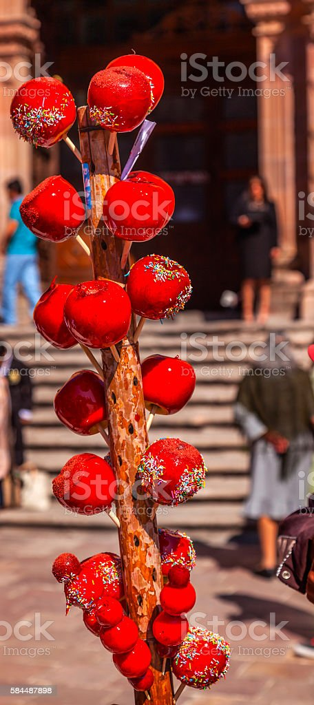 Colorful Candy Apples Dolores Hidalgo Mexico stock photo