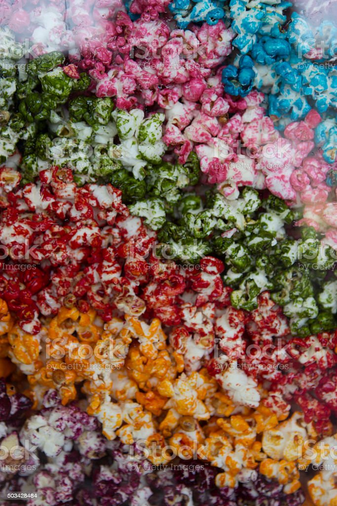 Colorful candy popcorn stock photo