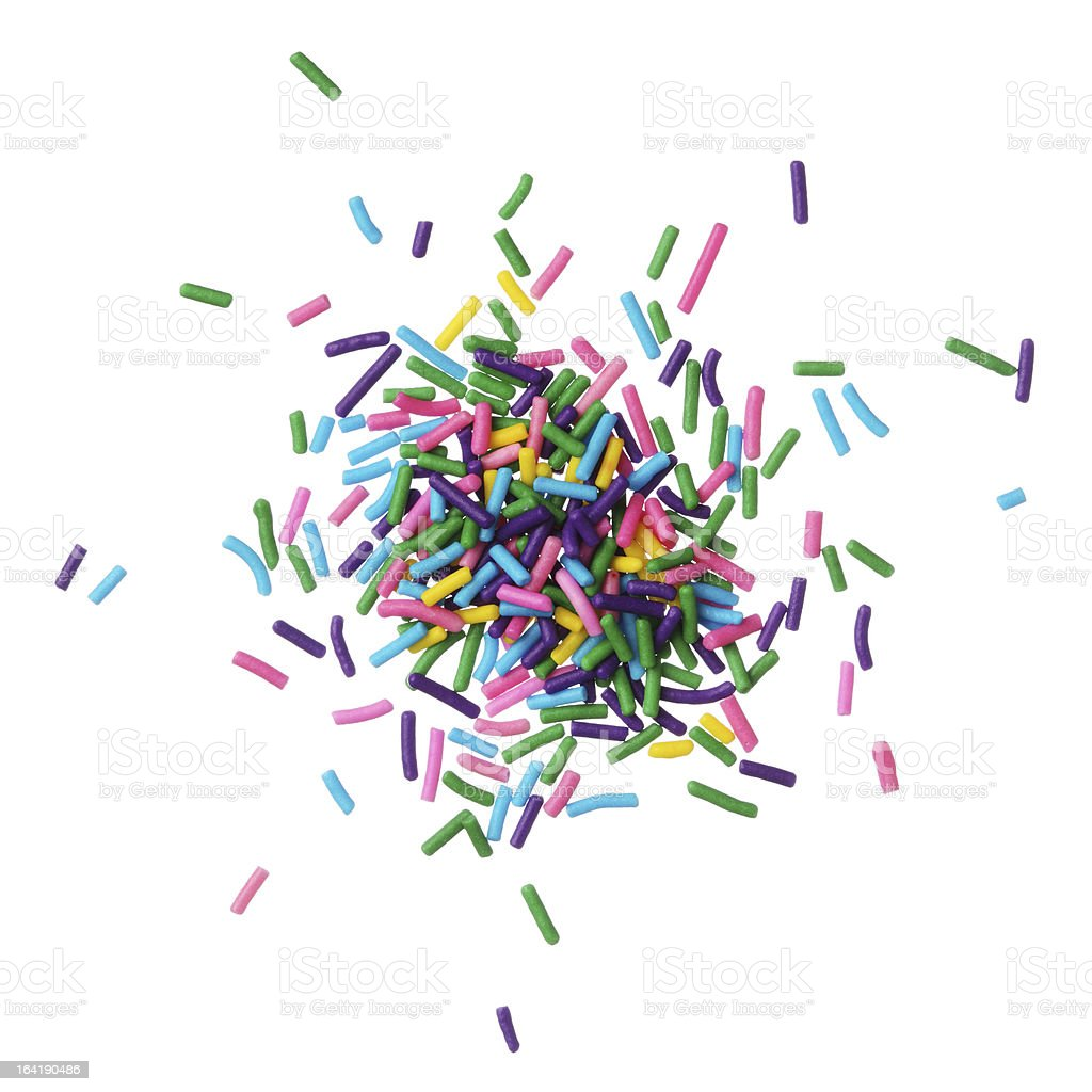Colorful candy sprinkles pile stock photo
