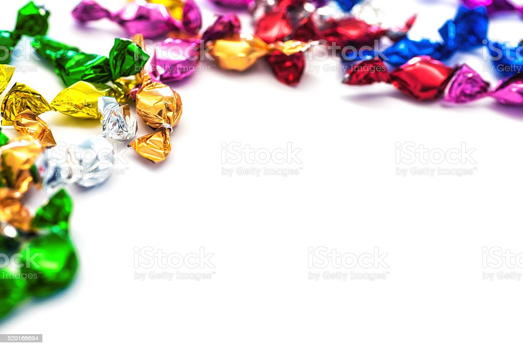 colorful candy sweets with copy space fot your message stock photo