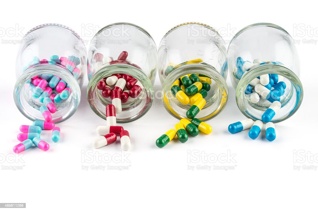 colorful capsule in  Transparent  bottle  Healthcare And Medicine stock photo