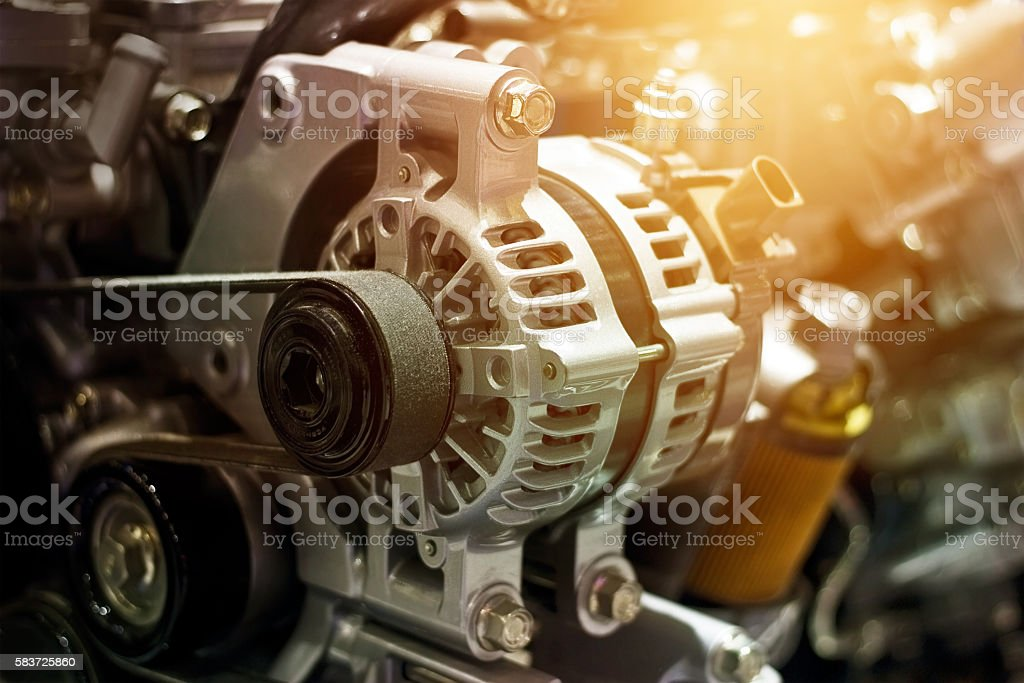 colorful car engine part stock photo