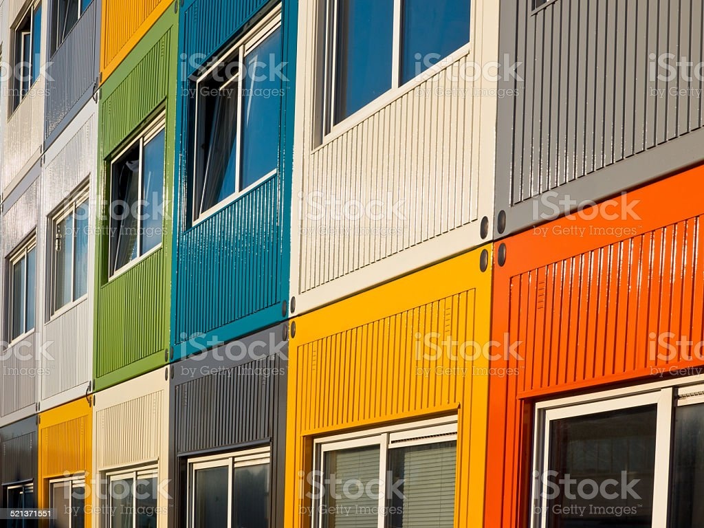 colorful cargo containers used as home by students stock photo