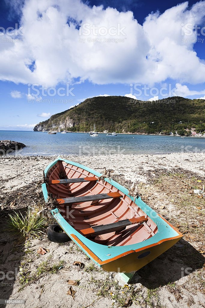 Colorful Caribbean Fishing Boat in Guadeloupe royalty-free stock photo